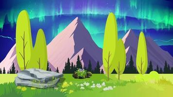 aurora en el cielo de la llanura verde video