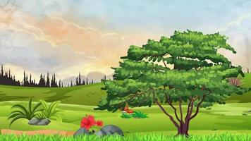 el viejo árbol en una llanura verde en la noche video