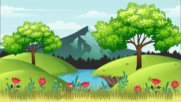 mañana ventosa en la llanura verde cerca del río video