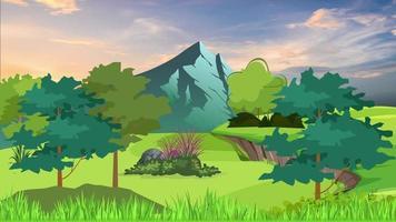 cielo colorido y hermoso sobre la llanura verde video