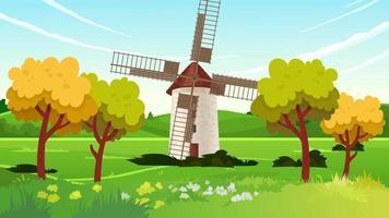 Windmill In The Green Plain In Spring Season video