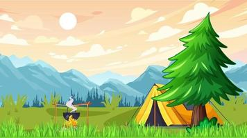 Summer Camp In The Green Plain Near Mountains video