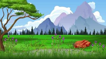 día ventoso en una llanura verde en verano video