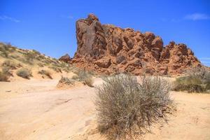 Colorful rocks on a desert mountain landscape photo