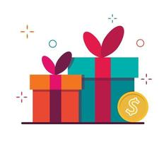 Gift box for the holiday. Symbol of loyalty and reward program. vector