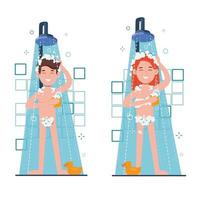 Woman and man taking morning shower in bathroom. Washes head, vector