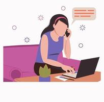 Stay and work from home. .Remote work, freelance. Girl with a laptop vector