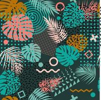 Seamless pattern with tropical leaves of plants and memphis vector