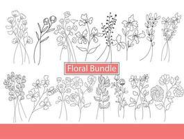 Floral bundle botanic flower set vector
