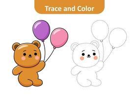 traza y color para niños, vector de oso