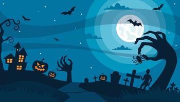 halloween background, haunted zombie shadow, vector illustration