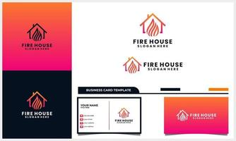 home or house with light fire logo concept and business card template vector