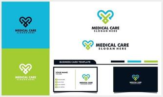 love and stethoscope medical care logo and business card template vector