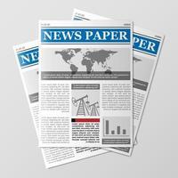 Newspaper stack, World news magazine, paper pile, journal heap vector