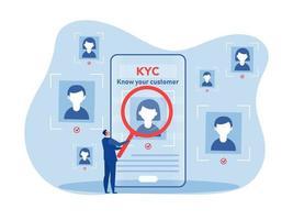 kyc o conozca a su cliente con negocio verificando la identidad vector