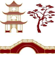 Isolated oriental temple, tree and bridge vector