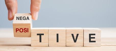 Hand flip block Negative to Positive word photo