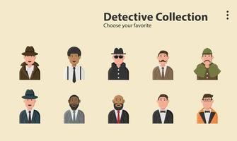 Detective character collection vector