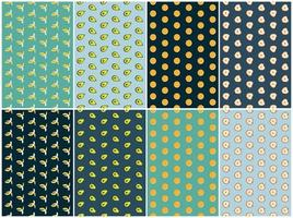 Fruit and vegetable pattern set vector