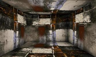 Etapa interior de la sala de pintura de arte abstracto foto