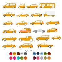 Various kinds of orange vehicle vector