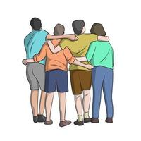 back view of full length four people vector