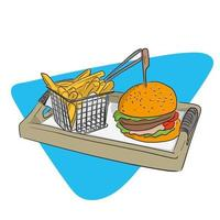 Fast food hamburger and french fries in basket on a wooden plate vector