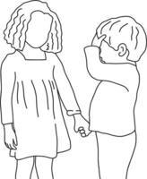 niño diciéndole a su hermana mayor que le duele la cabeza vector