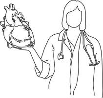 female doctor with stethoscope holding a human heart vector