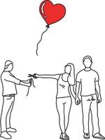woman with her new lover cutting red heart balloon vector