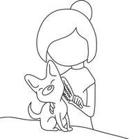 woman combing fur her small dog on a table vector