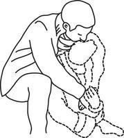 man hugs his transparent dashed line girlfriend vector