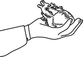 Hand holding a human heart vector illustration
