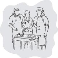 three people having camping and having bbq Christmas party vector