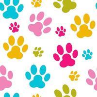 Animal Paw Seamless Pattern Background Vector Illustration