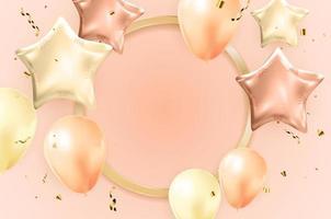 Happy Birthday congratulations banner design with Confetti vector