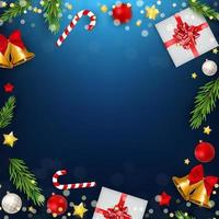 Blue Christmas Holiday Party Background. Happy New Year vector