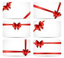 Gift Card Set with Red Ribbon and Bow. Vector illustration