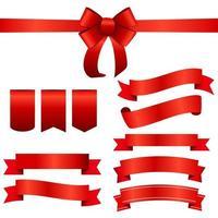 conjunto de lazo y cinta roja. ilustración vectorial vector