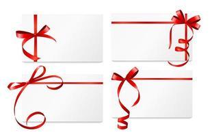 tarjeta de regalo con cinta roja y lazo. ilustración vectorial vector