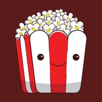 cute popcorn character in flat design style vector