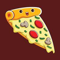 cute pizza character in flat design style vector