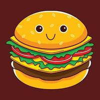 cute burger character in flat design style vector