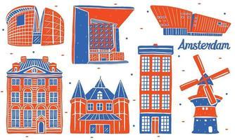 amsterdam landmark in flat design style vector
