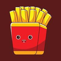 cute french fries character in flat design style vector