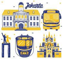 jakarta landmark in flat design style vector