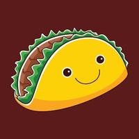 cute taco character in flat design style vector