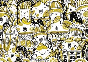 fatahillah museum doodle in flat design style vector