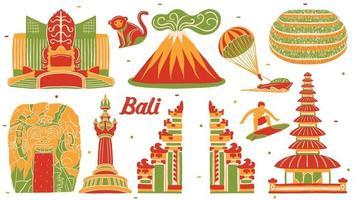 bali landmark in flat design style vector