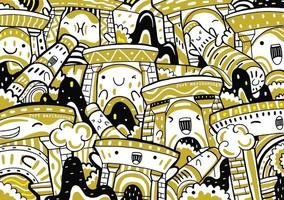 fort marlborough doodle in flat design style vector